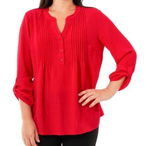 NWT NY Collection Pintuck Henley Top